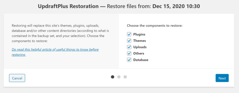 Choose what to restore