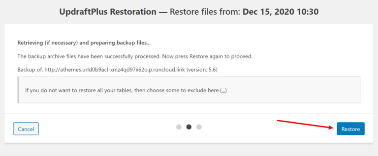 Finalize restore