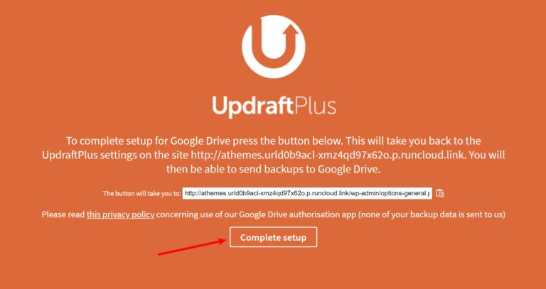 Finish Google Drive setup
