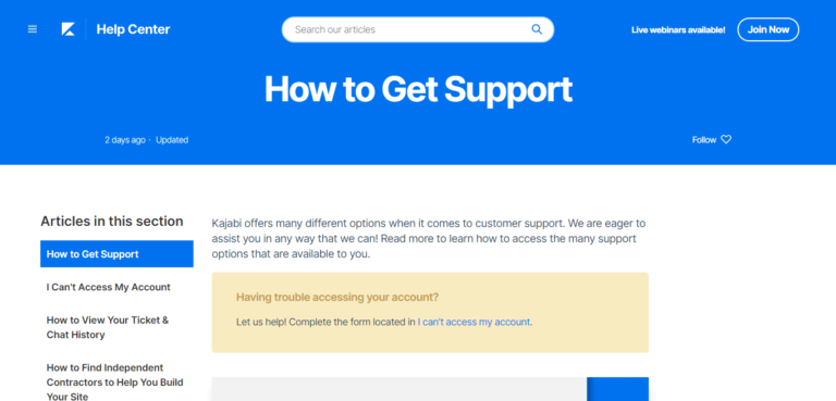 Kajabi customer support