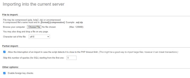 Importing a database file using phpMyAdmin