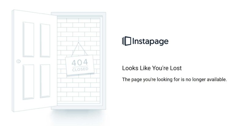 Instapage 404 Message
