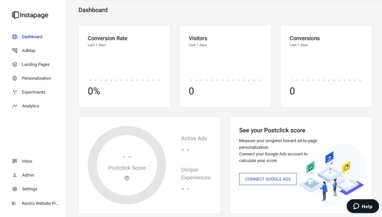 Instapage Dashboard