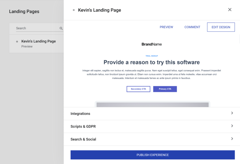 Landing Page Options