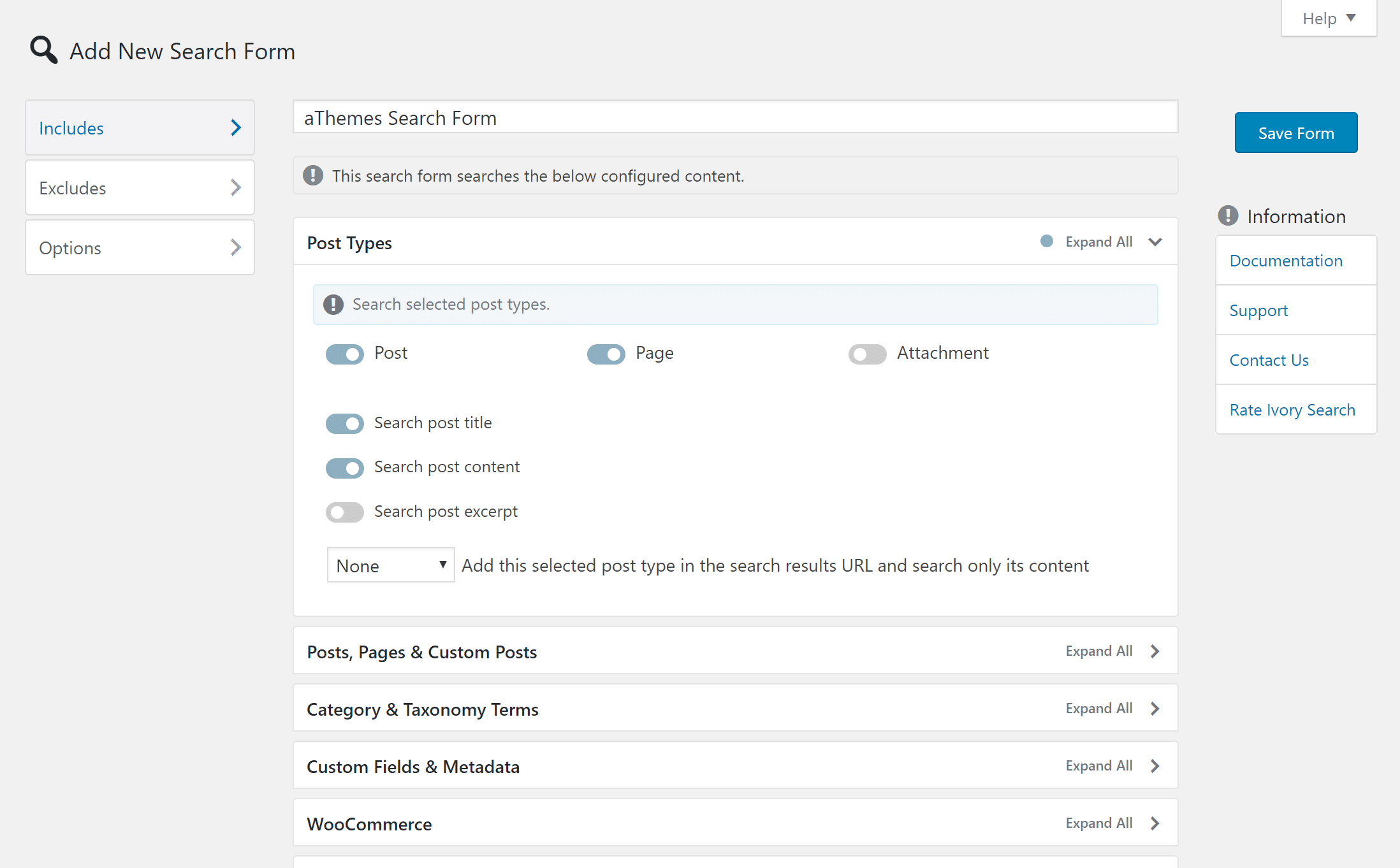 Ivory Search settings