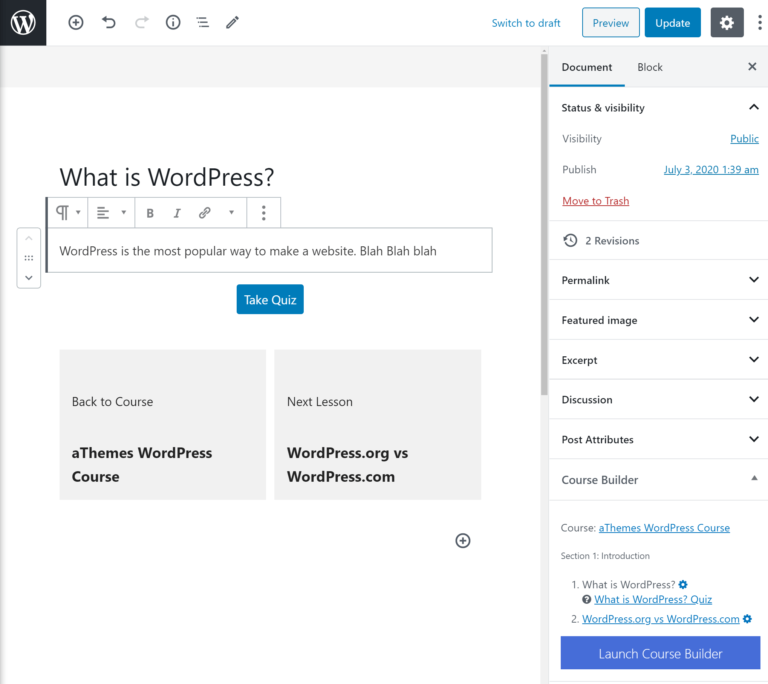 LifterLMS lesson editor