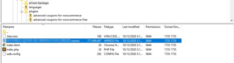 Uploading a WordPress snapshot via FTP