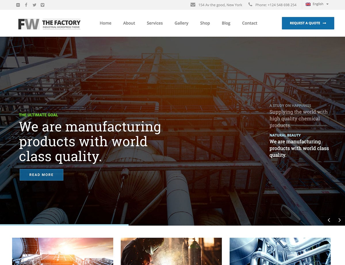 10 best industrial wordpress themes 2016 athemes for Industrial design sites