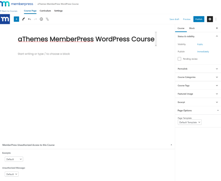 MemberPress course builder