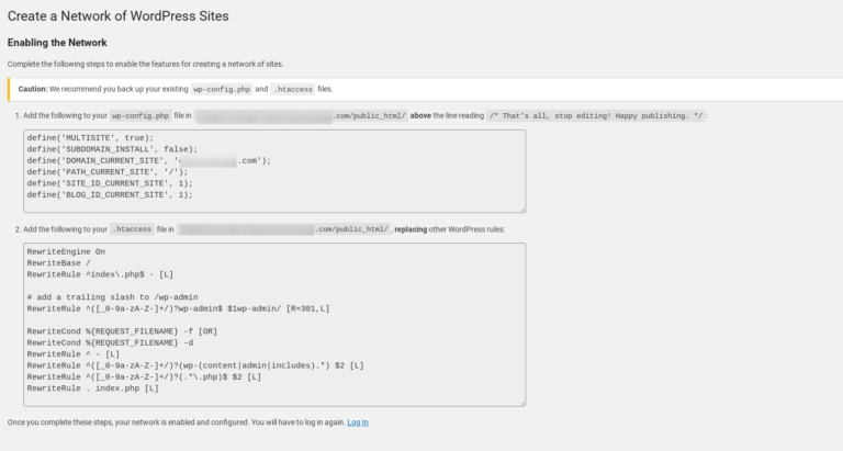 The code snippets for installing a WordPress Multisite network.