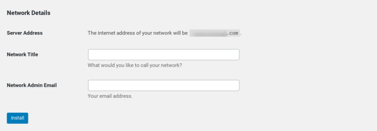 The 'Network Details' section of the WordPress Multisite settings page.