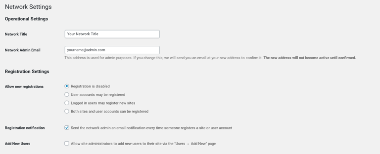 The WordPress Multisite network registration settings.