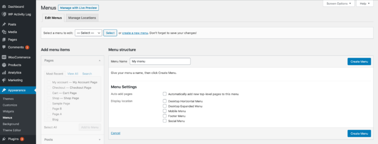 Creating a new menu in WordPress.