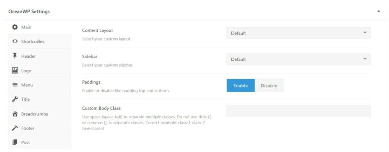 OceanWP page-level controls