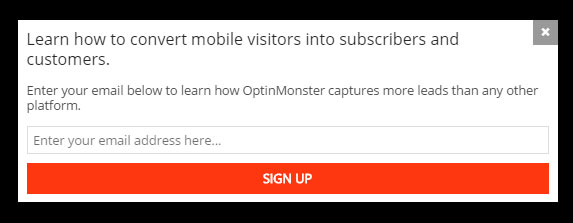 OptinMonster Mobile Only Pop-Up