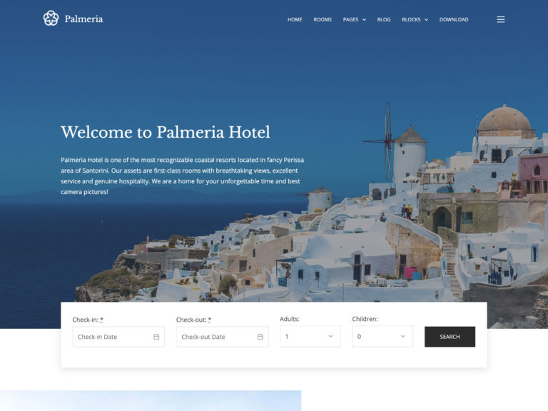 Palmeria Free Hotel WordPress Theme