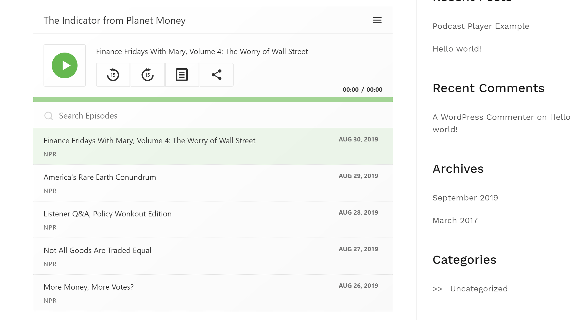 Podcast player example