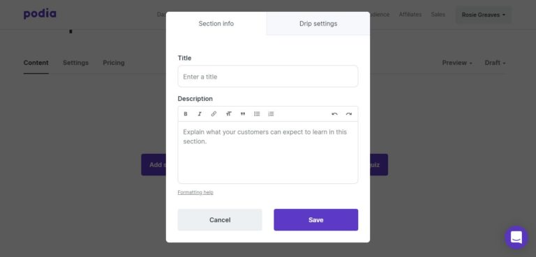 Podia user interface example