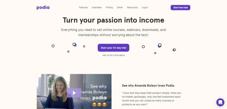 Podia homepage