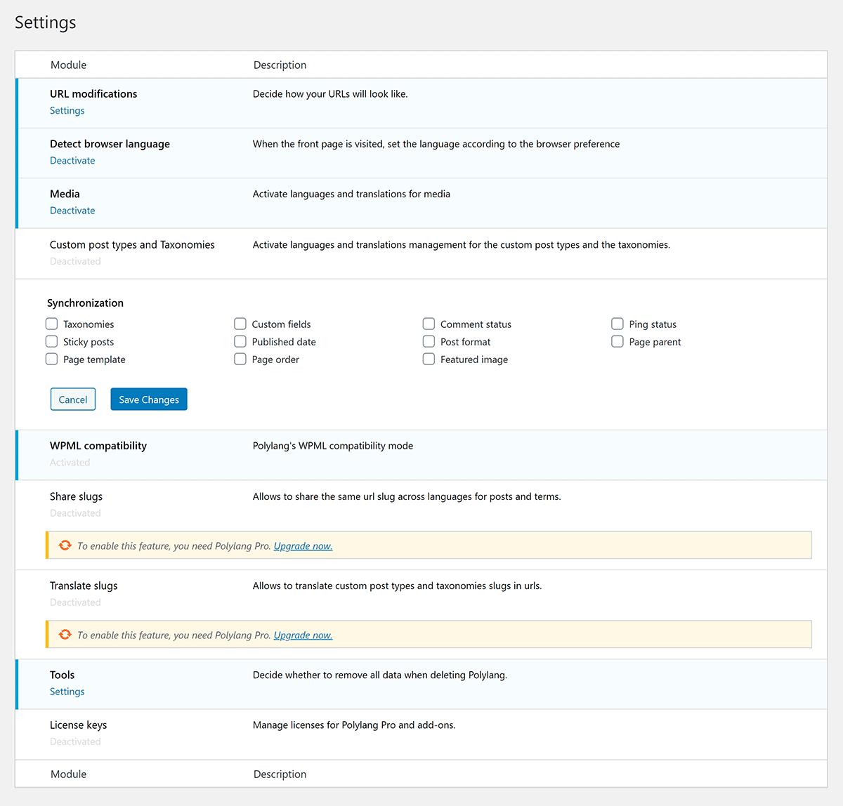Polylang Settings Page