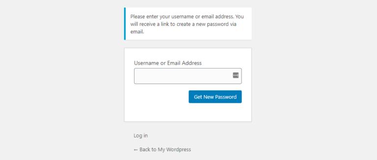 Recovering your WordPress password.