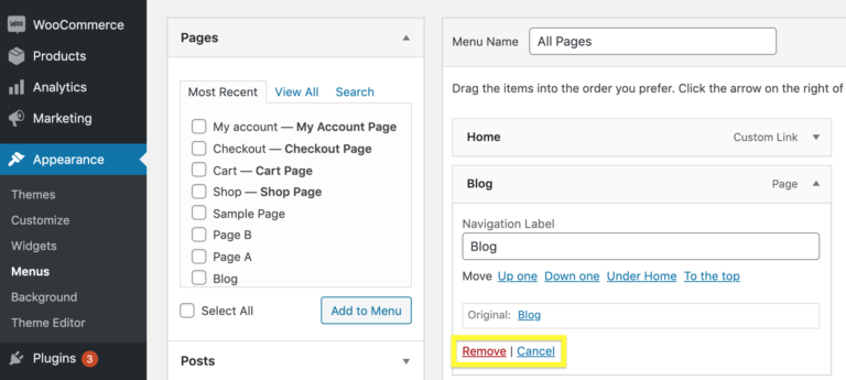 Removing an item from a WordPress menu.