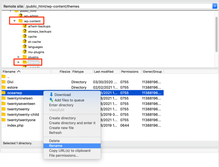 Renaming the active theme to enable a default theme via FTP.