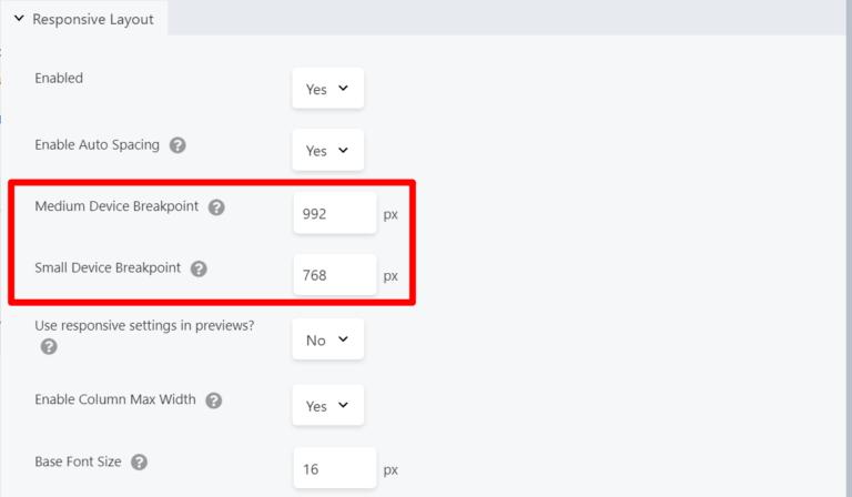 Custom responsive breakpoints