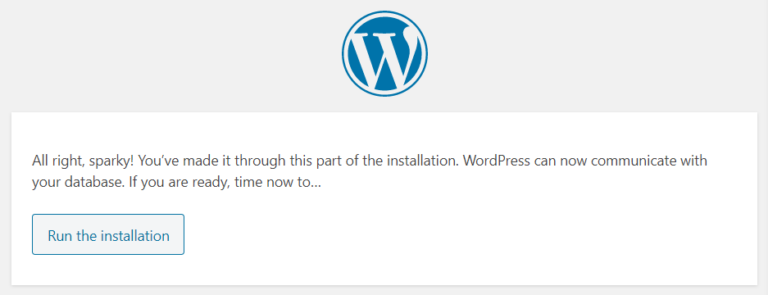 Running the WordPress installer.