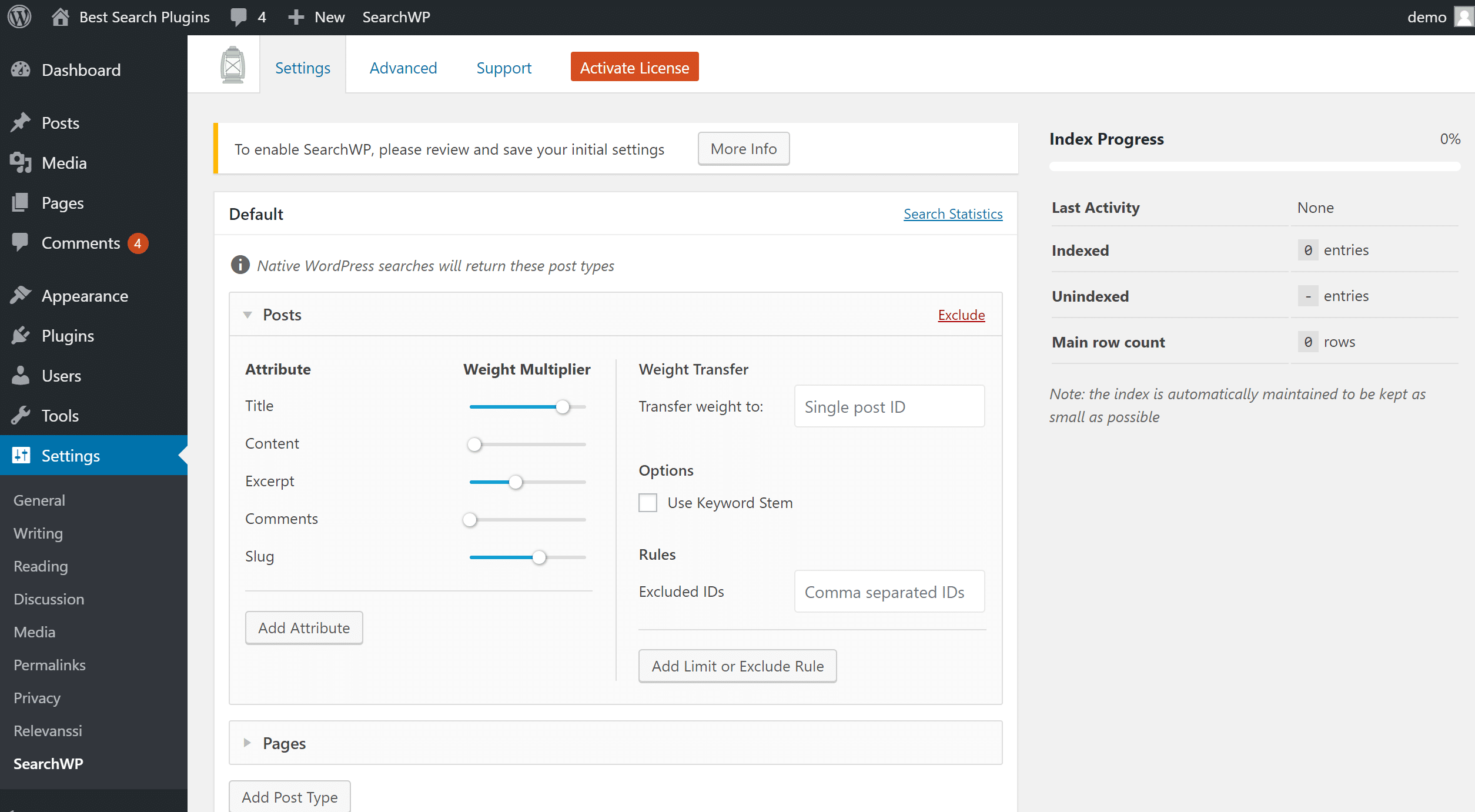 SearchWP settings