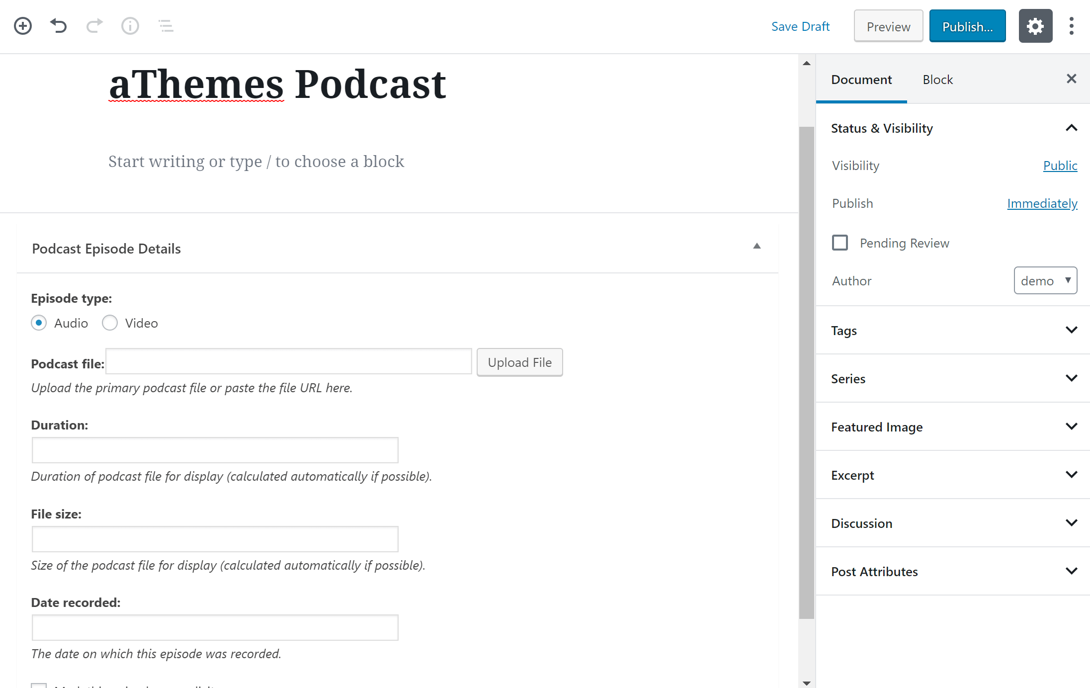 Seriously Simple Podcasting interface
