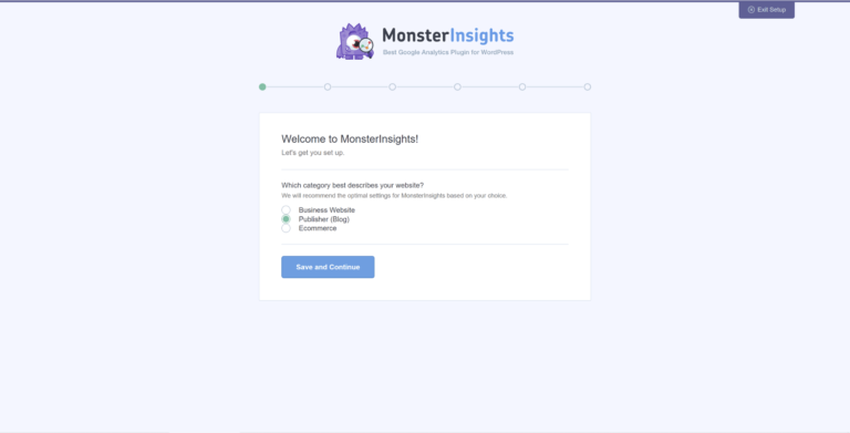 Setting up the MonsterInsights plugin.