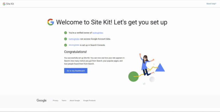 Setting up Google Site Kit.