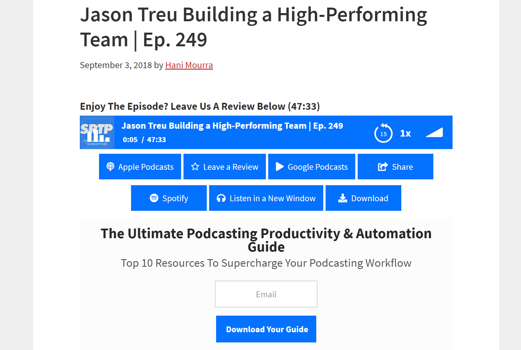 Simple Podcast Press example