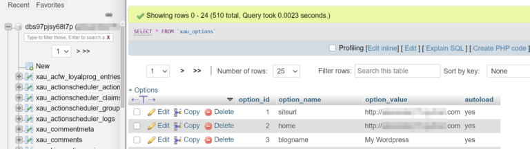 Modifying the siteurl and home rows in your database