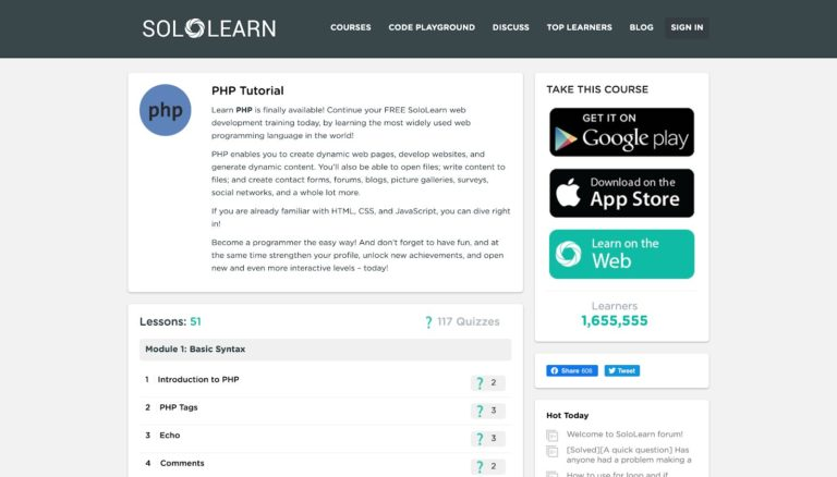 SoloLearn PHP Tutorial