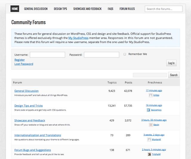 StudioPress Support Forums