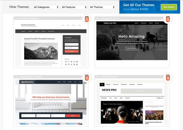 StudioPress Theme List