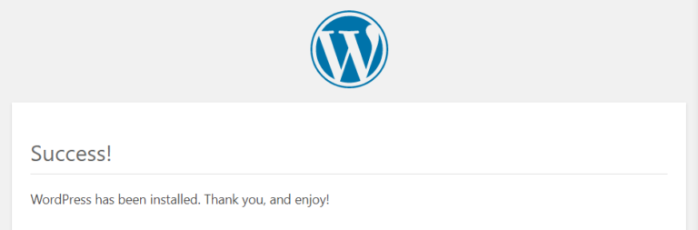 A successful WordPress installation.