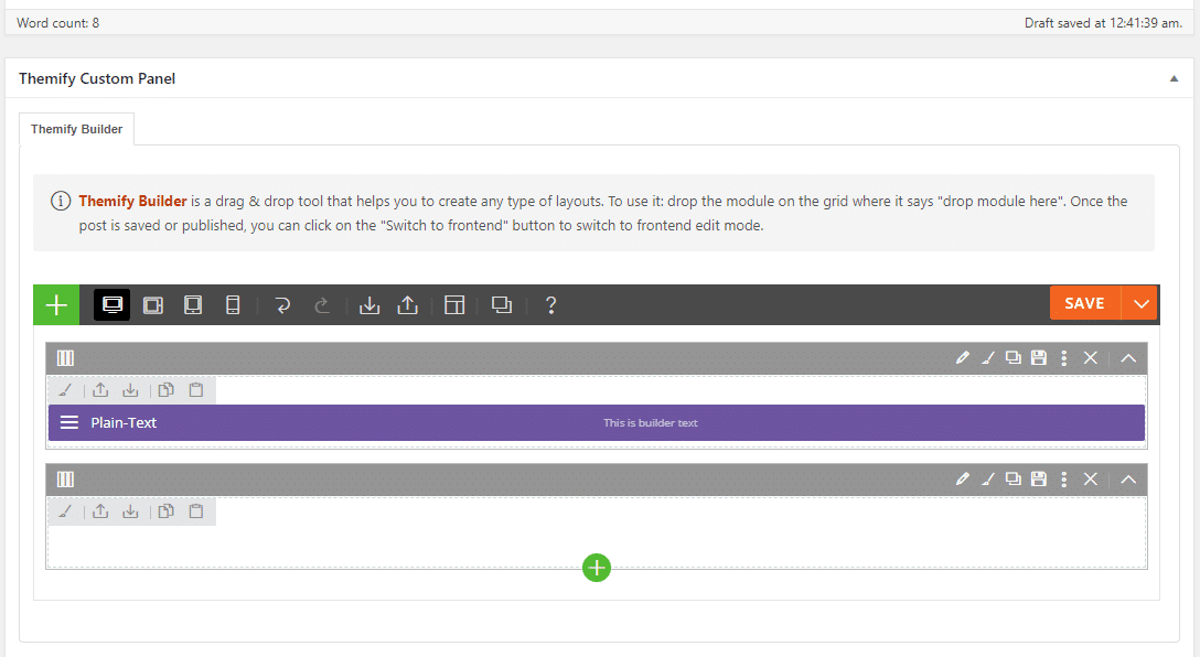themify builder backend