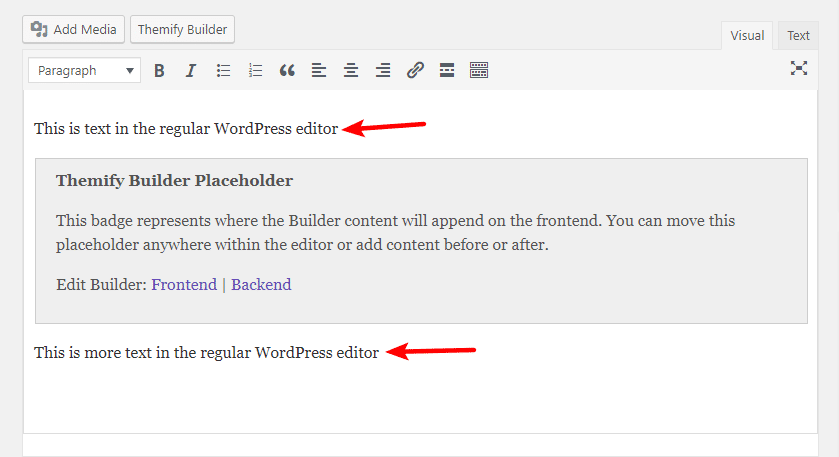 themify builder in WordPress editor