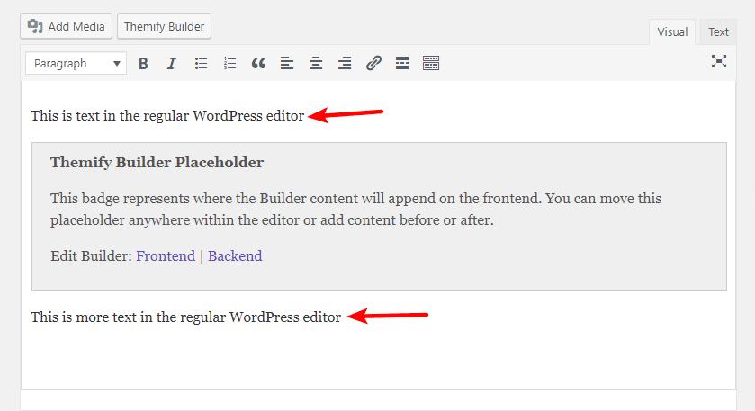 themify builder in WordPress editor