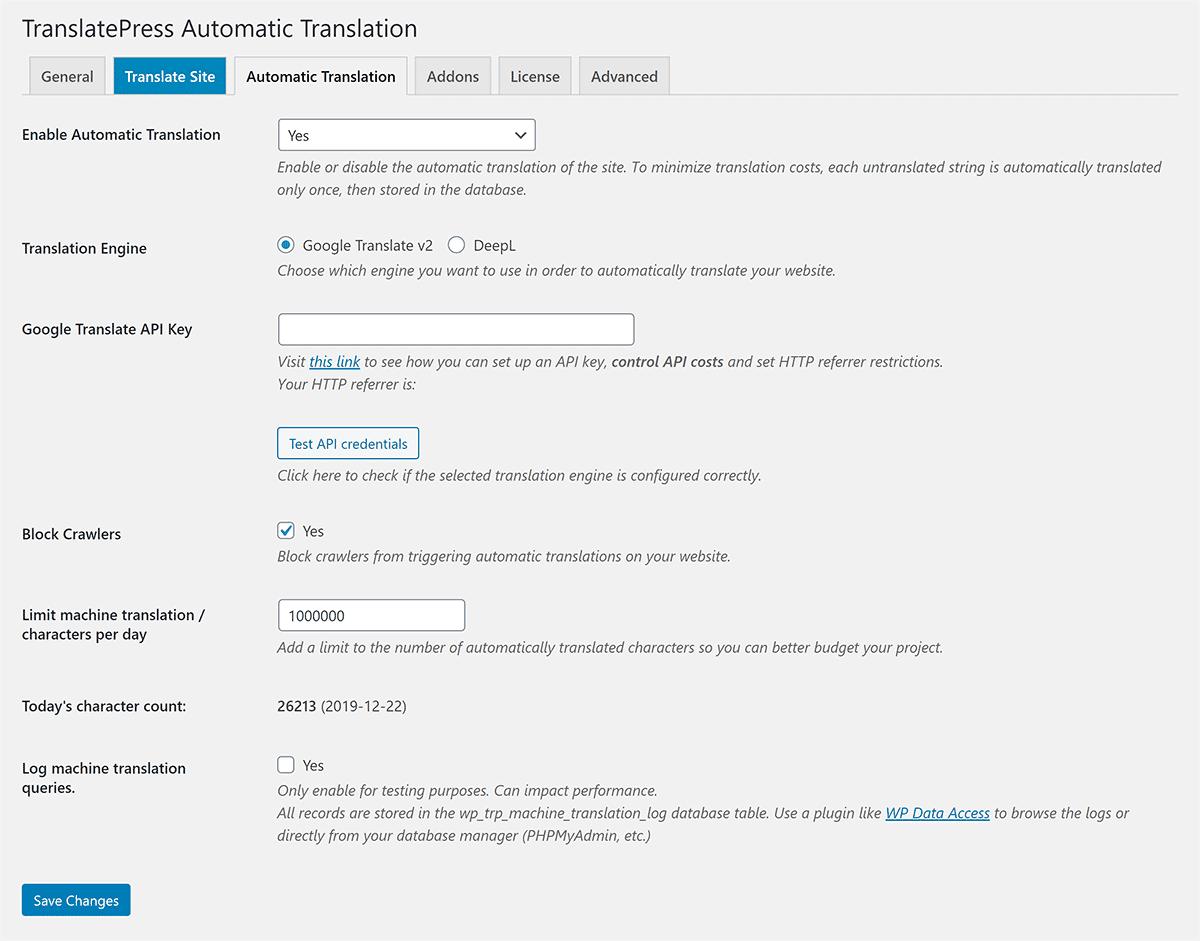 TranslatePress Automatic Translation Settings