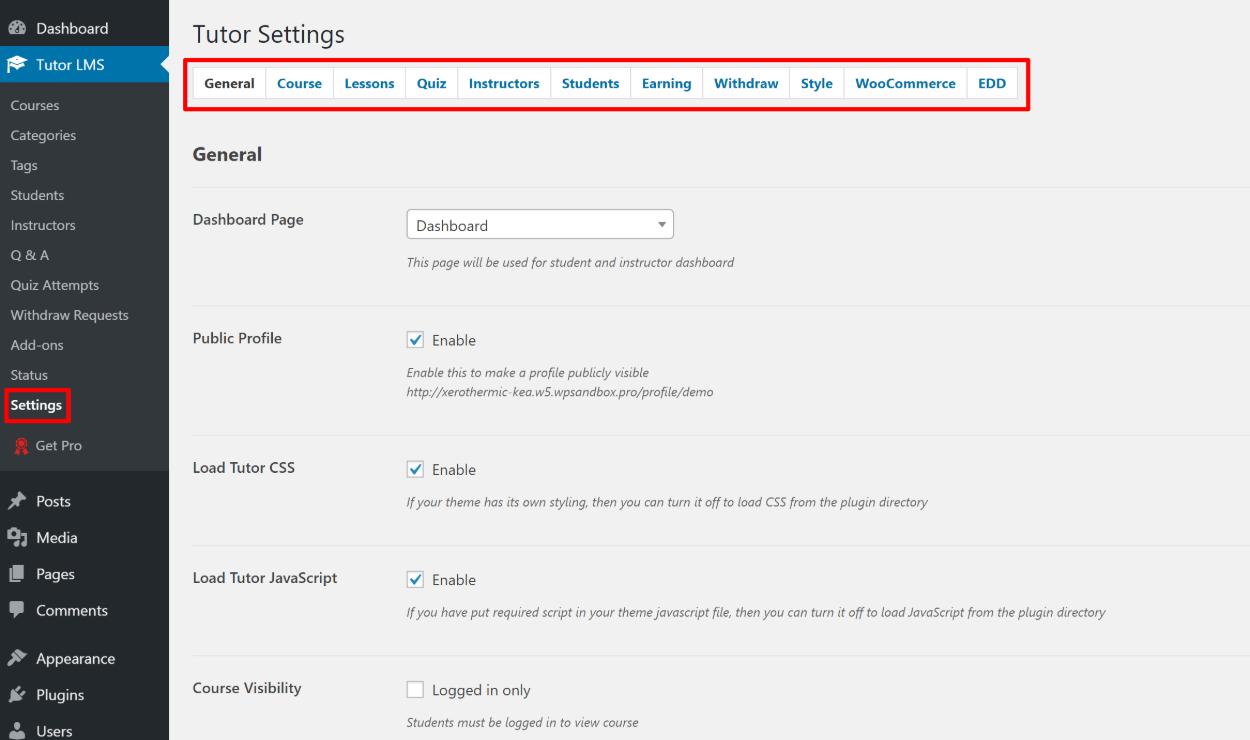 Tutor LMS settings