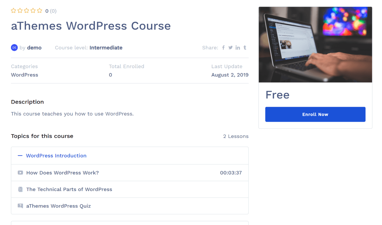 Example of a course in Tutor LMS