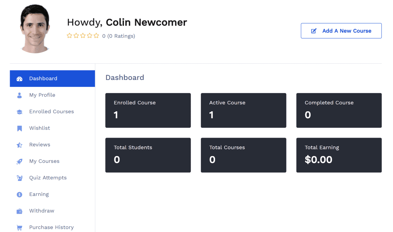 Front-end dashboard
