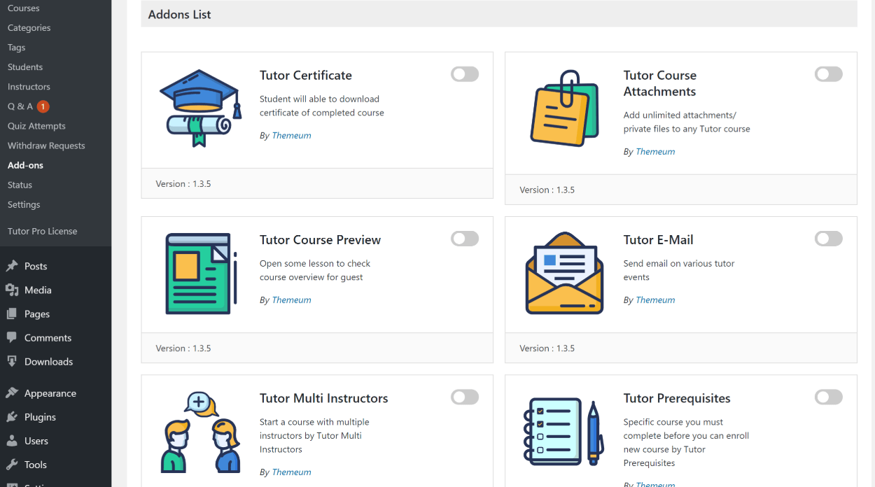 Tutor LMS review of add-ons