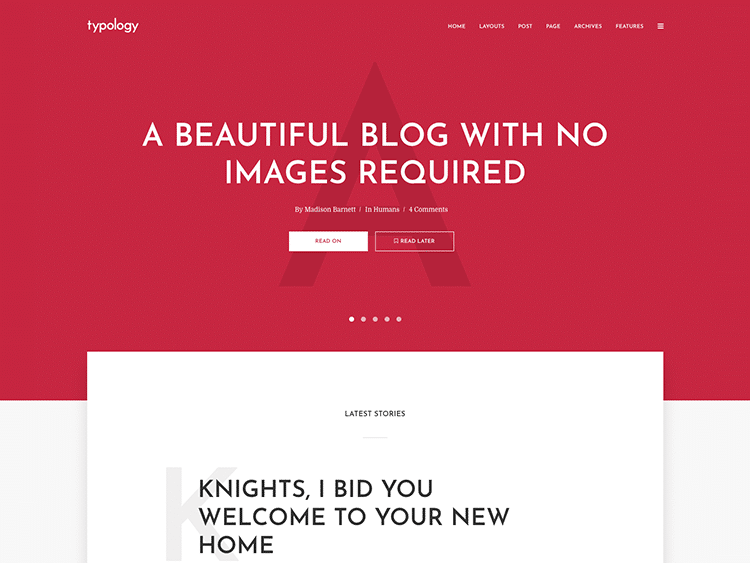 theme de blog typology