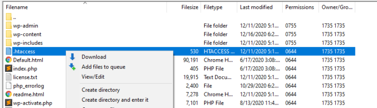Editing your htacess file via FTP.