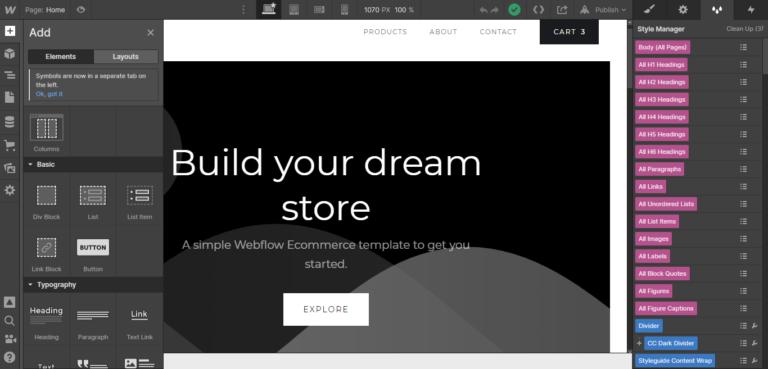 Webflow ease of use
